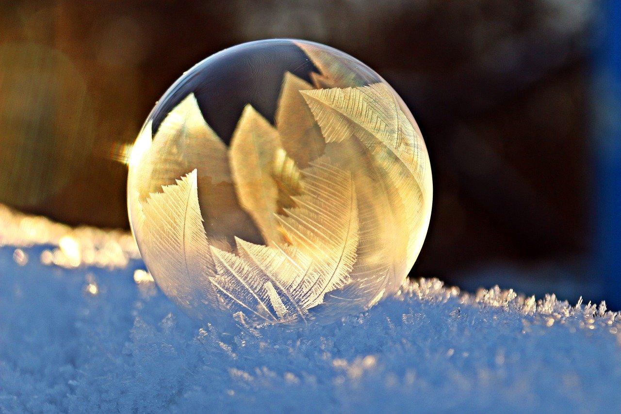 雪シャボン玉